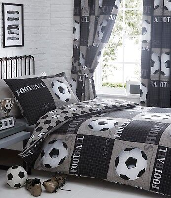 "Bedmaker Children's Kids Reversible ""Shoot"" Football Duvet Cover Set or Curtains"