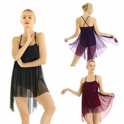 Womens Spaghetti Strap Sequined Contemporary Ballet Dance Dress Leotard Costumes