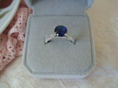 Antique White Gold dress Ring Blue White Sapphires Vintage Victorian Jewelry