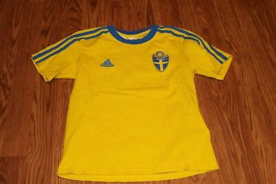 ADIDAS SWEDEN FOOTBALL SOCCER T-shirt Boys Size Small - Used -  9.99 ... c33d2c58f