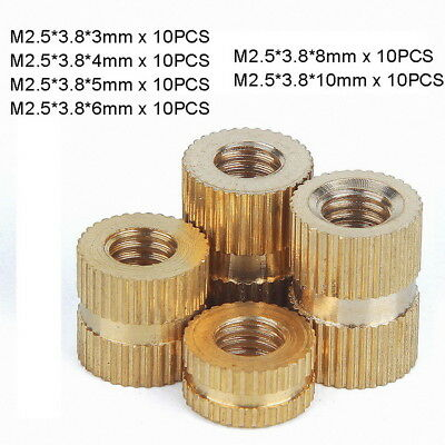 60pc M2.5 x(3-10mm) Solid Brass Injection Molding Knurled Thread Insert Nut Kit