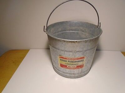 Vintage Dover Parkersburg No. 610 Galvanized Metal Steel Bucket Pail WITH LABEL