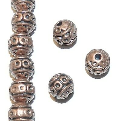 MB367 Antiqued Copper 8mm Round Circle Pattern Metal Alloy Beads 25pc