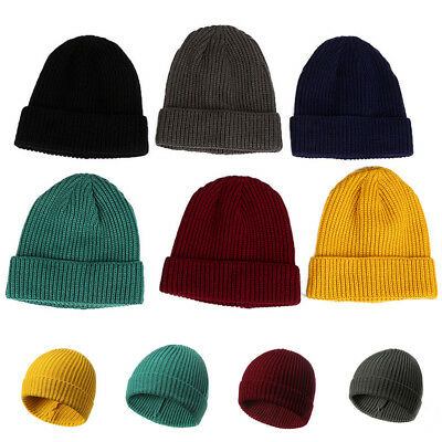 Mens Womens Winter Warm Skull Ski Cap Soft Knitted Wool Single Layer Cuffed Hat