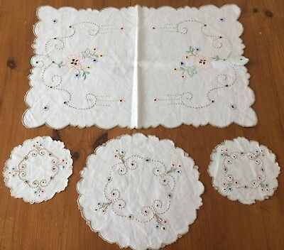 Vintage hand embroidered with cutwork tray cloth & doily set with floral design