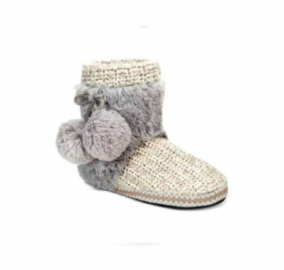 Muk Luks Coralee Sweater Boots Fur Bootie Slippers White Gray XL 11-12 NWT I3