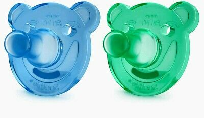 Philips Avent Soothie Bear Shaped Pacifiers 0-3 months 2-Pack Blue/Green