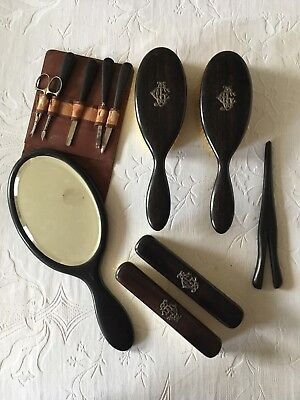 Antique Edwardian Ebony Complete Dressing Set with Genuine Silver Monogram
