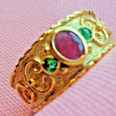 14k Solid Yellow Gold Oval Ruby Round Emerald Etruscan Byzantine Style Ring N18