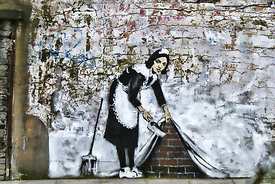 Cleaning Lady - Bansky - CANVAS OR PRINT WALL ART
