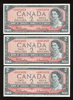 1954 Bank of Canada $2 - Lot of 3 Consecuctives - BC-38bA - S/N:*A/B0054054-4056