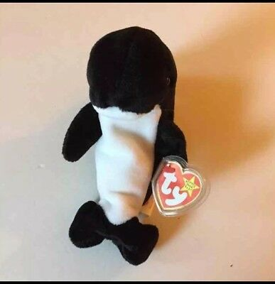 Mint Ty Beanie Baby Babies Waves Orca Original Retired Rare Killer Whale 1996 96
