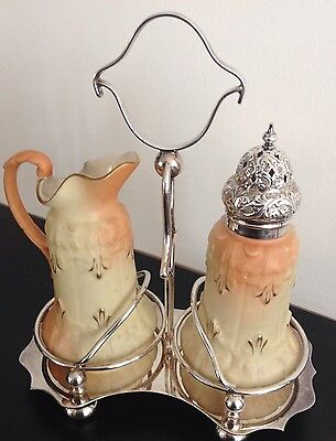 Rare Antique Locke & Co Worcester Porcelain Sugar And Milk Condiment Set