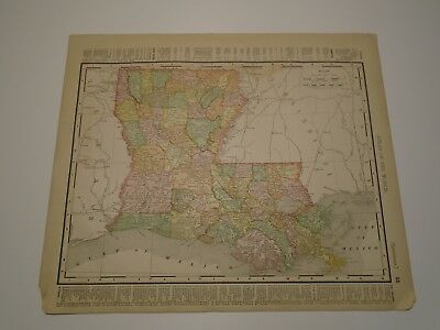 Antique Original 1895 Rand McNally Colored Map Louisiana and New Orleans