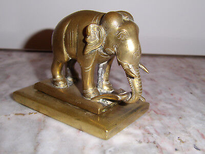 Antique Colonial Indian Bronze Brass Working Bull Elephant On Plynth 1.2Kg