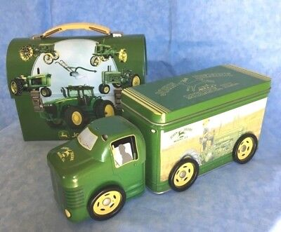 John Deere EUC Lot of 2:  Tin Truck Wheels Spin and Tin Dome Lunch Pail