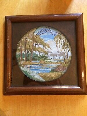 Edwardian Petit Point Embroidered Picture In Wooden Frame