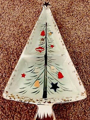 Vintage Christmas Tree Dish Holt Howard  Mid Century Modern Divided Bowl Candy