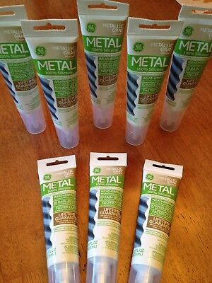 GE 100% Silicone Lot Of 8, 2.8 Fl OZ For Use On Metal, Weatherproof, Gray, New