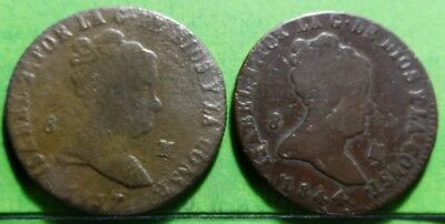 ISABEL II, Lot of 2 coins of 8 Maravedis,1837 and 1844, JUBIA, Copper,  SPAIN