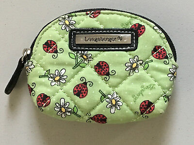 Longaberger Mini Ladybugs & Daisies Green Coin Purse
