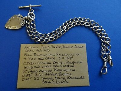Antique Solid Silver Double Albert Pocket Watch Chain.54.2 grams.