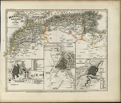 North Africa Morocco Algiers city plan insets Constantine Tunisia 1849 map