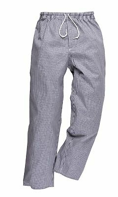 PORTWEST C079 Bromley blue/white or black/white check chefs trousers XS-4XL R/T