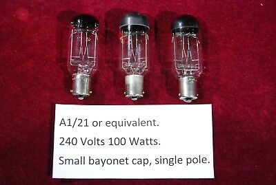 3 x Slide projector bulb. 240V 100W. A1/21 or equivalent. Used but working.