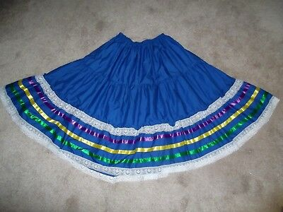 Full Tiered Square Dance Skirt~ Blue With Satin Ribbons & Lace