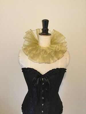 Gold organza circus neck ruff, pierrot clown, circus, costume piece.