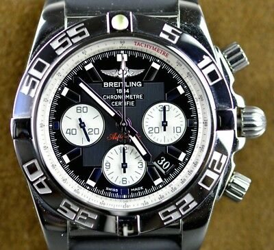 official photos 1464f 91224 2018 BREITLING CHRONOMAT 44 AB011012 Black Dial SS Watch &  BOX/WARRANTY/BRACELET