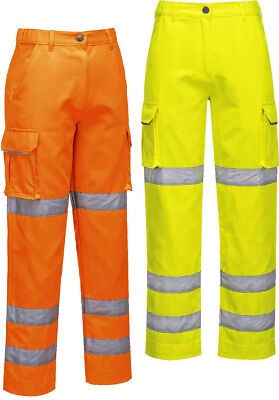 PORTWEST LW71 orange or yellow hi-vis ladies fitted trousers size XS-XXL