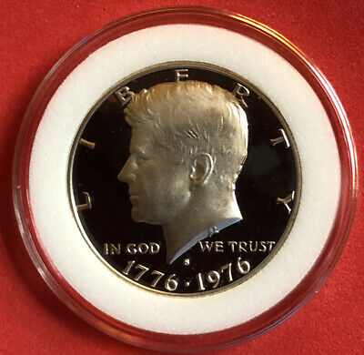 1976 S 50C Silver Proof Kennedy Bicentennial Half Dollar In Coin Capsule