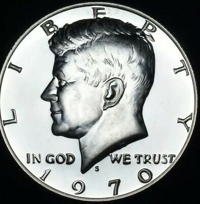 1970 S Kennedy Half Dollar 40% Silver Gem Proof In Airtight Coin Capsule