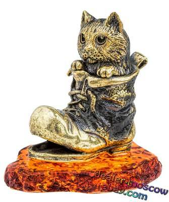 Bronze Solid Brass Baltic Amber Figurine Crow and Cheese Ivan Krylov Statuette