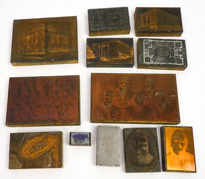 Vintage Lot 12 Letterpress Printer Block Wood Copper Stamp Architecture Portrait