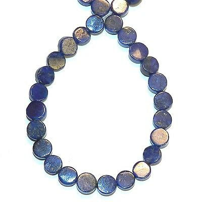 NG2650 Blue Lapis Lazuli 5mm Flat Round Coin Natural Gemstone Beads 15""