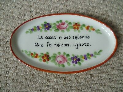 Vintage/Retro French Pottery Pin Dish with sweetheart message - LOOK!