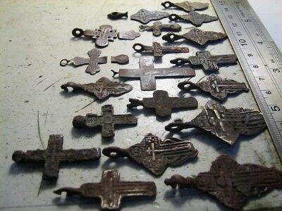 19 Pcs. BIG LOT ! 100% AUTHENTIC ! LATE MEDIEVAL ORTHODOX BRONZE CROSSES  #852