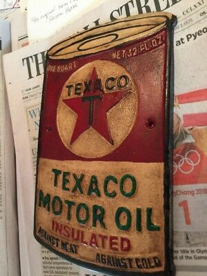 "Texaco Oil Metal Sign Antique Style Metal Cast Advertisement Gas 1/4"" Thick G-Vg"