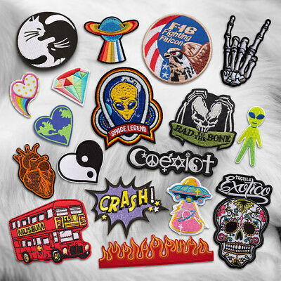 Skull Bus Heart UFO Embroidered Sew On Iron On Patch Badge Clothes Fabric Craft