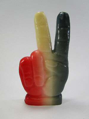Vintage hand peace sign hippie candle red white blue retro protest counter