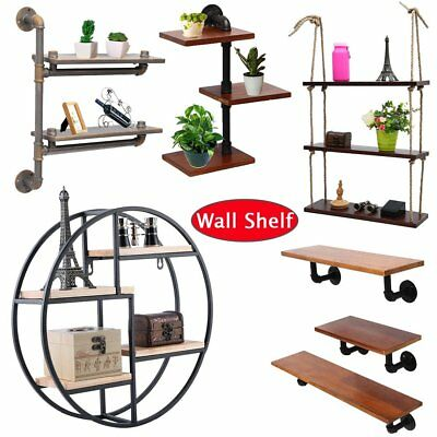 Wooden Retro Industrial Style Black Wall Metal Shelves Storage Home Decoration