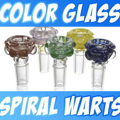 Assorted Color Spiral Thick Funnel Glass Wart Slide Bowl 14mm 18mm Free Shipping