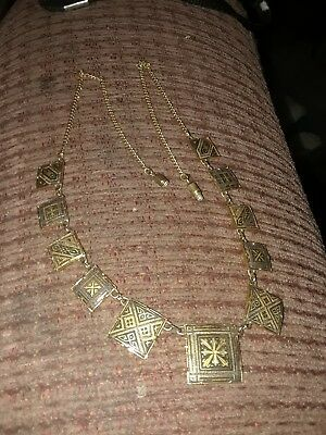 VTG Art Nouveau Deco Design Necklace Goldtone.Made In Spain