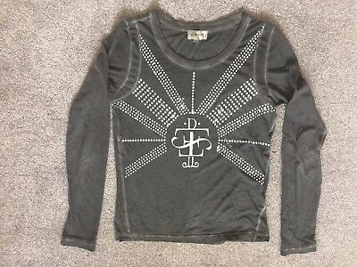 Diesel Trendy Girls Faded Grey Thin Cotton Top Blouse Long Sleeved XS