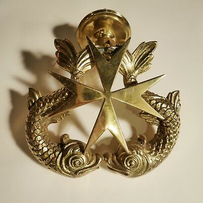 "Antique Victorian Brass 7"" Door Knocker Maltese with Fish Dolphins Star Cross"