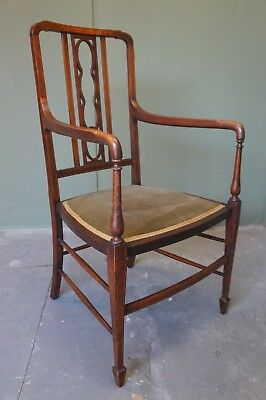 Antique Edwardian Inlaid Solid Mahogany Boxwood Arm Chair With Upholstered Seat