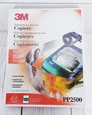3M PP2500 Transparency Film For Copiers 100 Sheets 8.5 X 11 NEW